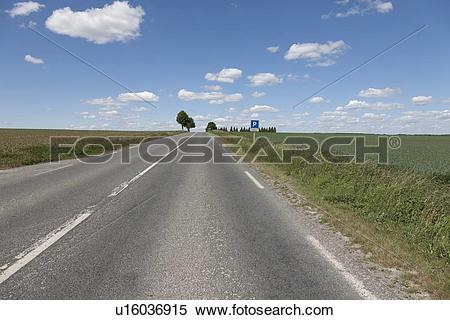 Stock Image of France, Picardy, Somme, Peronne, Rural highway.