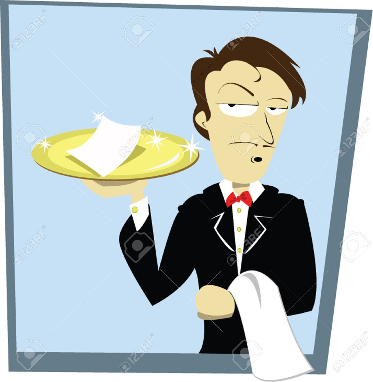 A Vector Cartoon Representing A Funny Sommelier Serving A Bill.