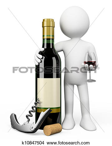 Drawings of 3D white people. Sommelier with a bottle of red wine.
