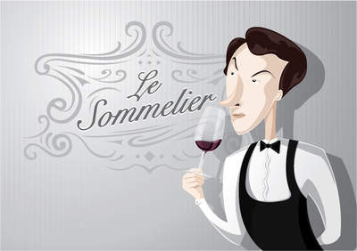 Sommelier cartoon character, Clipart.