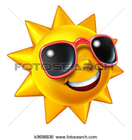 Clipart of happy summer sun k6613693.