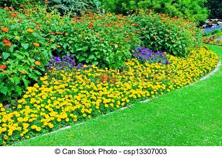 Stock Fotografie von schöne, sommer, Blumenbeet, Park.
