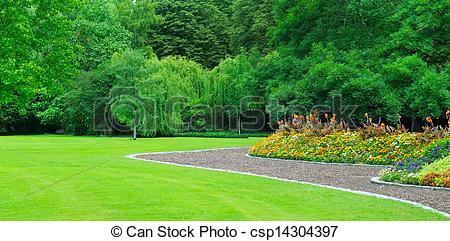 Stock Fotografien von schöne, sommer, Blumenbeet, Park.