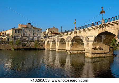 Stock Photo of sommieres bridge k10285053.