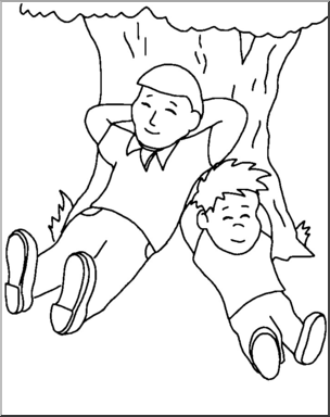 Clip Art: Family: Father and Son B&W I abcteach.com.