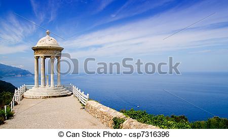 Stock Image of es Galliner gazebo in Son Marroig over Majorca sea.