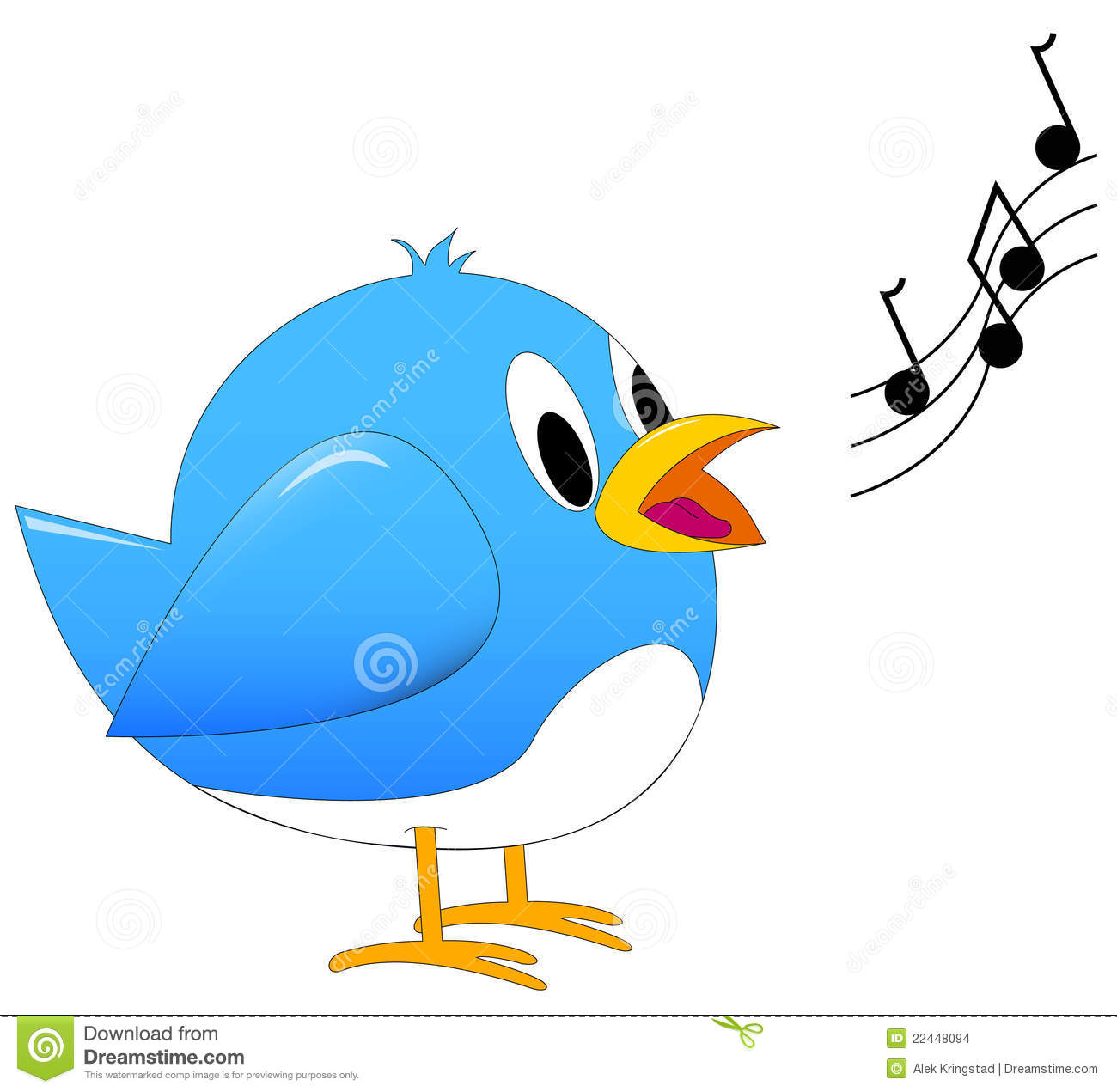 Blue Song Bird Singing Stock Images.