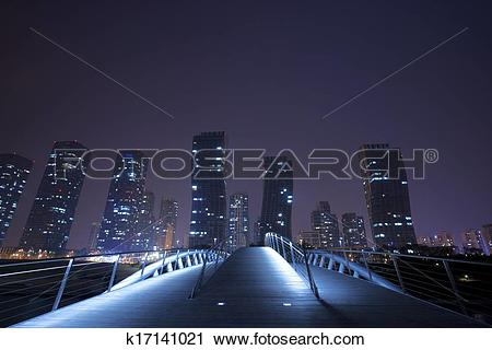 Stock Photography of Beautiful night view in South Korea,Songdo.
