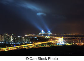 Stock Image of Beautiful night view in South Korea,Songdo, Incheon.