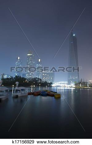 Stock Photograph of Beautiful night view of buildings in south.