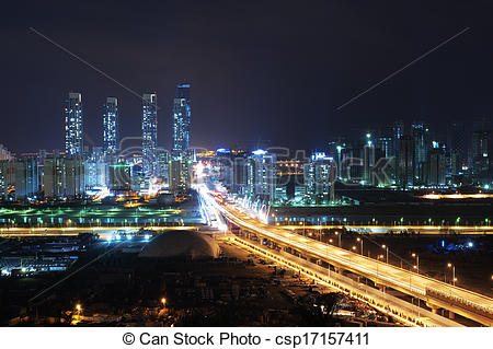 Stock Photography of Beautiful night view in South Korea in Songdo.