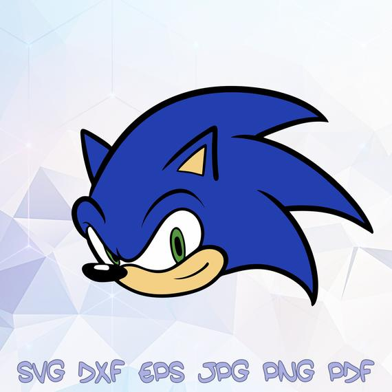 Sonic Head the Hedgehog SVG Vector Silhouette Cricut Design.