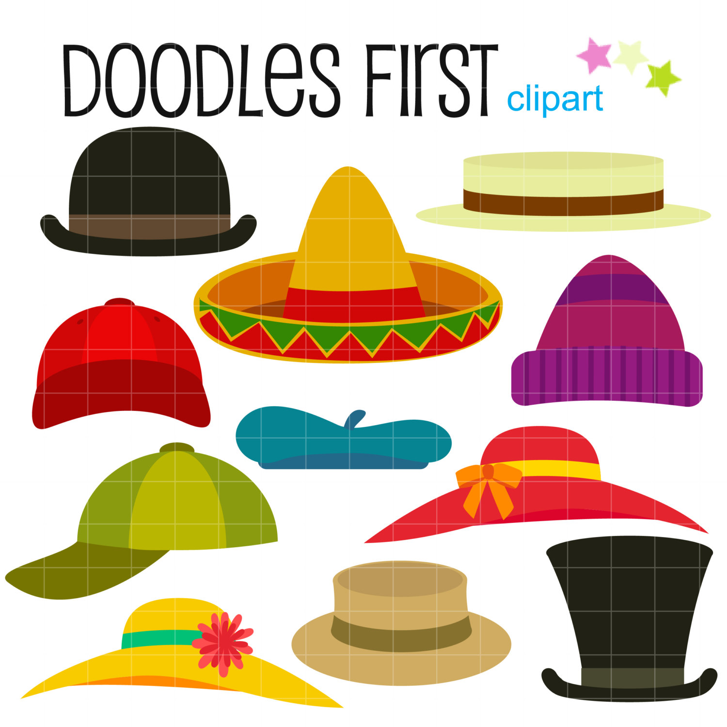 Hat Collection Costume Digital Clip Art for by DoodlesFirst.