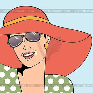 Retro Frau mit Sonnenhut im Comic.