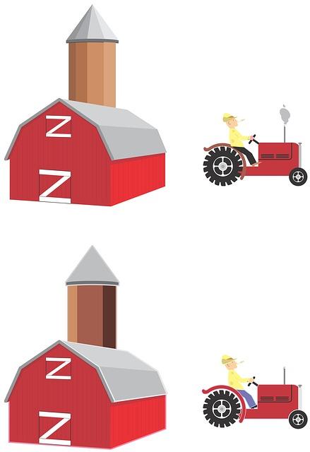 Free illustration: Silo, Barn, Tractor, Farm, Isolated.