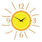 Clipart Vector of clock in the sun illustration vector two on.