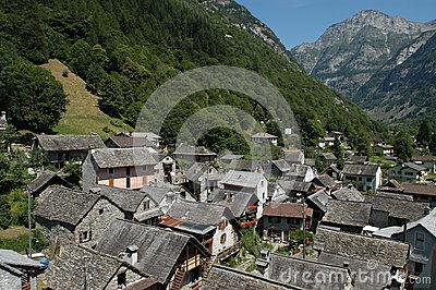 The Village Of Sonogno On Verzasca Valley Stock Image.