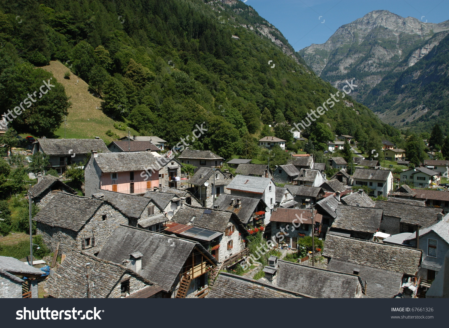 Village Sonogno On Verzasca Valley Stock Photo 67661326.