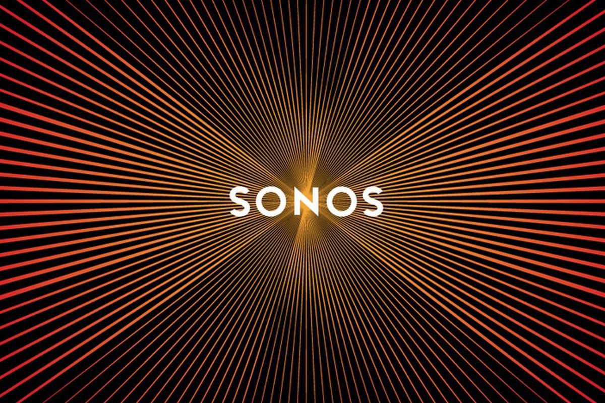 New Sonos logo design pulses like a speaker when scrolled.