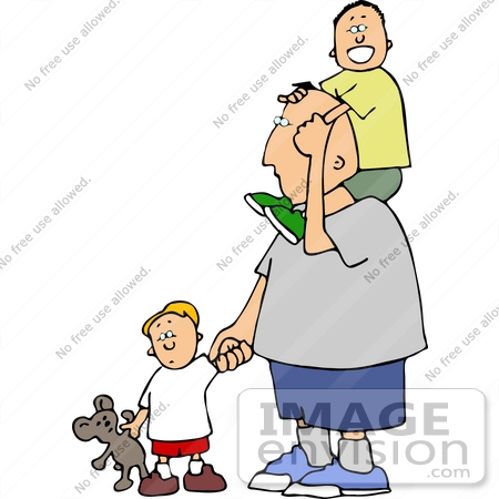 Father Two Sons Clipart.