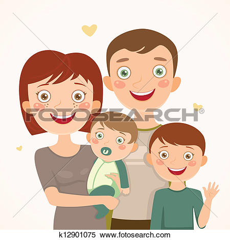 Clipart of Mother and sons k12901072.