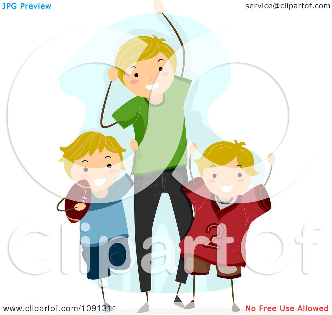 Clipart Dad And Sons Cheering For A Football Game.