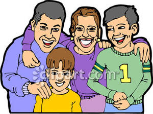 Mother father and two sons clipart.