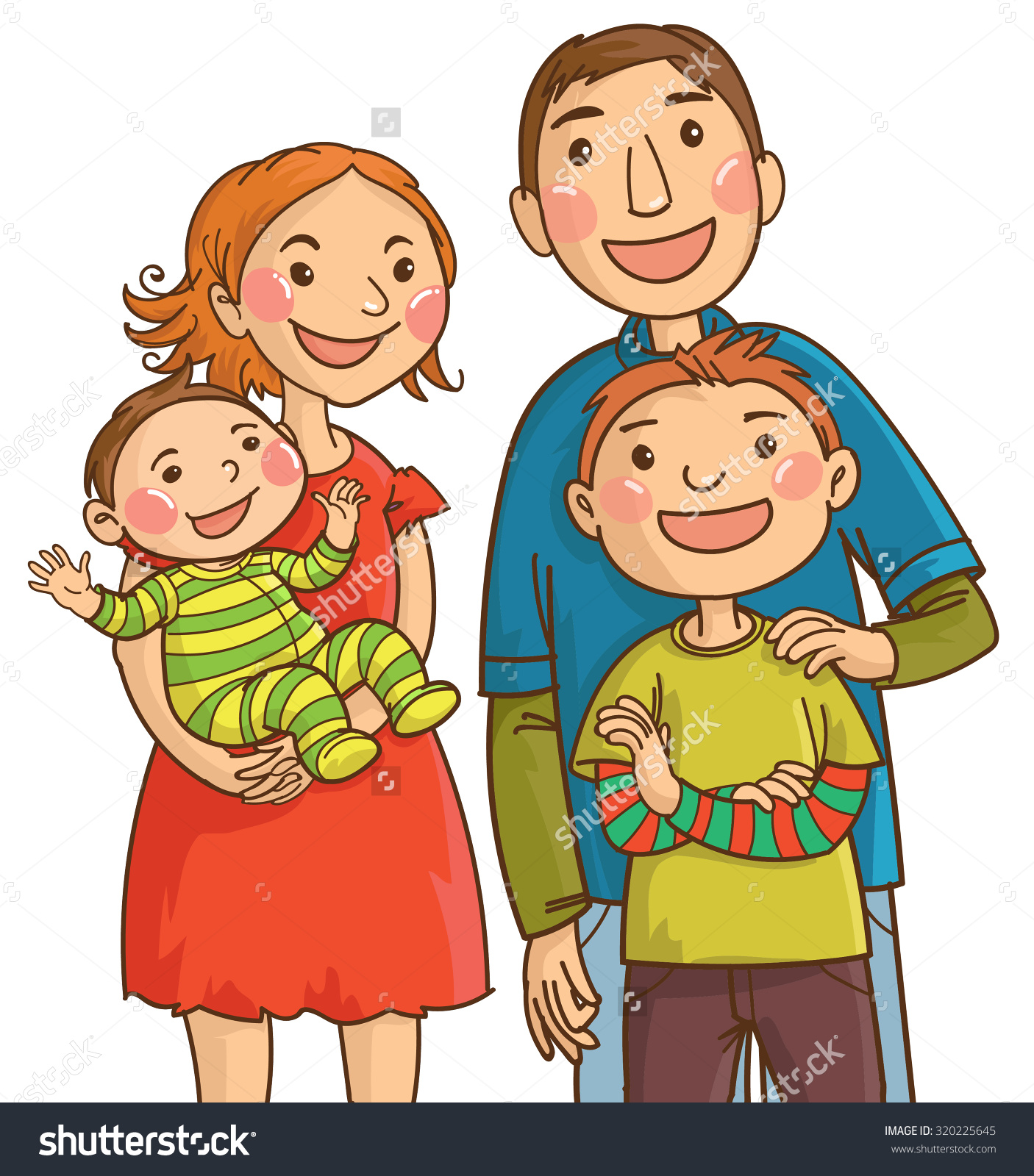 Black mother with 2 sons clipart.