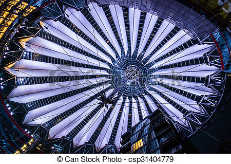 Picture of roof at Sony Center, Potsdamer Platz, Berlin, Germany.