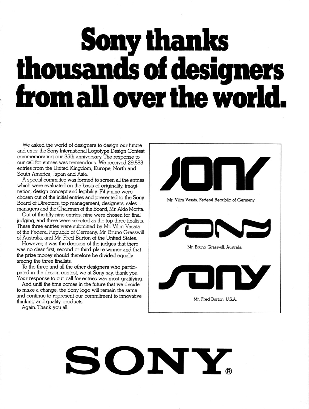 Design History: 1981 Ad Shows Finalists Of Sony Logo.