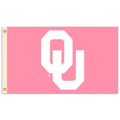 Oklahoma Sooners Logo Pink 3X5 Flag With Metal Grommets.