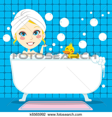 Clipart of Soothing Bubble Bath k6565992.