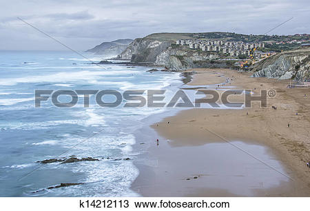 Stock Photo of The Sopelana beach in Vizcaya, Spain k14212113.