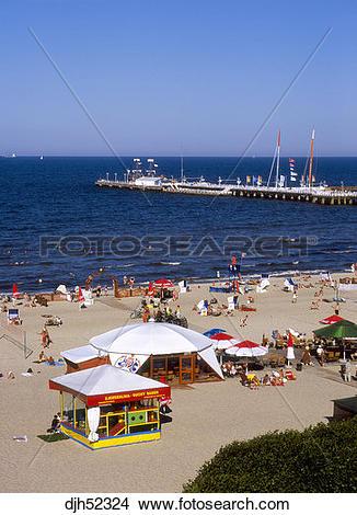 Stock Photo of Sopot Pier and Beach, Sopot, Baltic Sea, Poland.