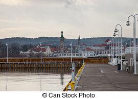 Stock Photography of pier (Molo) of Sopot and Baltic sea, Poland.