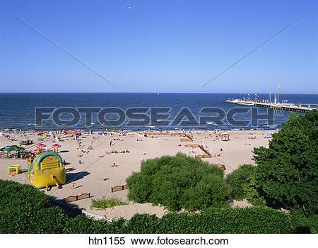 Stock Image of Sopot Pier and Beach, Sopot, Baltic Sea, Poland.
