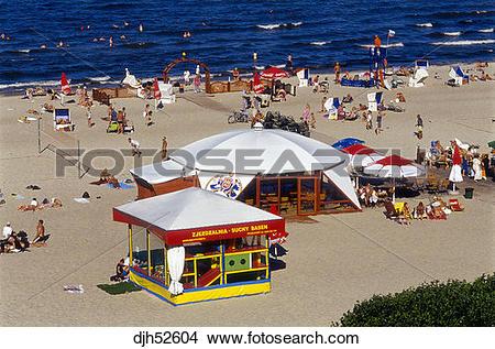 Stock Photo of Sopot Beach, Sopot, Baltic Sea, Baltic Coast.
