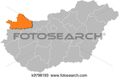 Clipart of Map of Hungary, Gyoer.