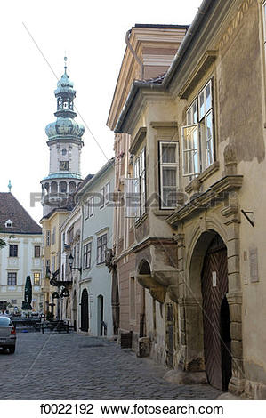 Stock Photo of Hungary, Sopron, Fö tér Place, Fire Tower f0022192.