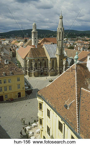 Stock Images of Fo Ter Square Sopron Hungary hun.