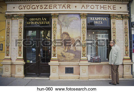 Stock Photography of Painted Shop Front Sopron Hungary hun.