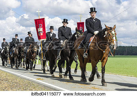 Picture of Procession on horses, sorbian cultural tradition on.