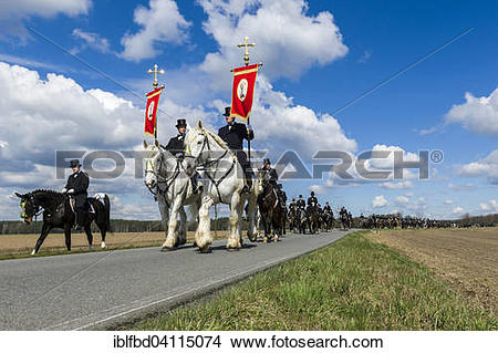 Stock Photo of Procession on horses, sorbian cultural tradition on.