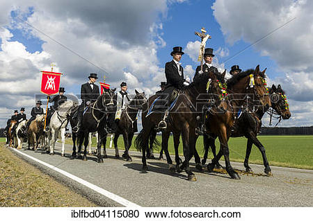 Stock Photography of Procession on horses, sorbian cultural.