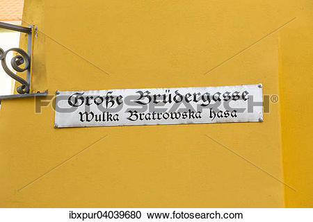 """Stock Photography of """"Street sign """"""""""""""""Grosse Brudergasse"""""""""""""""" in."""