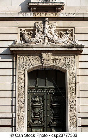Pictures of Entrance to the historic Sorbonne University in Paris.