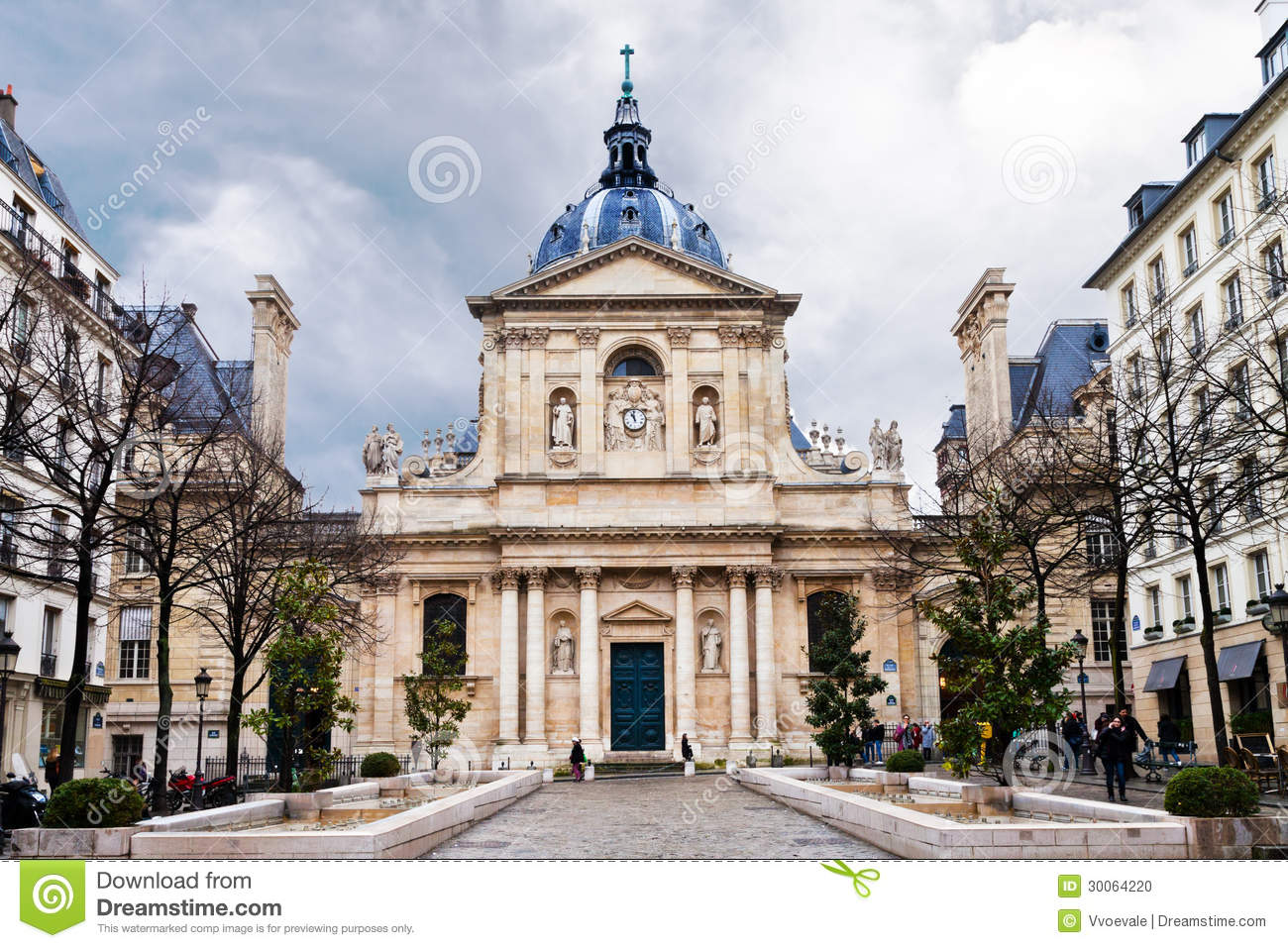 Sorbonne Square In Paris Stock Photo.