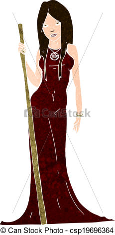 Clip Art Vector of cartoon sorceress.