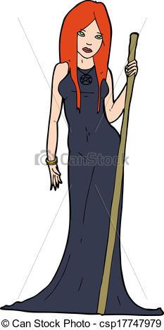 Vectors Illustration of cartoon sorceress.