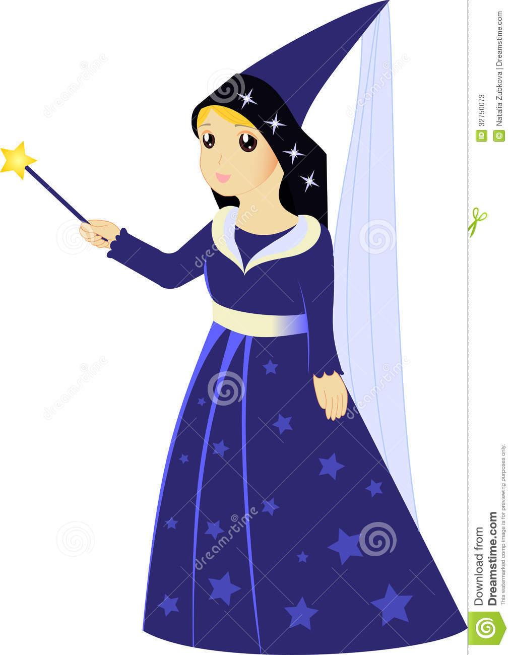 Cartoon Fairy Sorceress With Magic Wand Stock Photos.